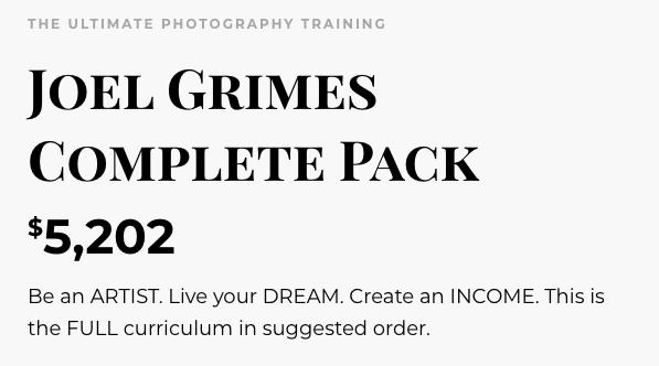 Joel Grimes complete pack cost